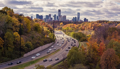 An aerial image of the Don Valley Parkway